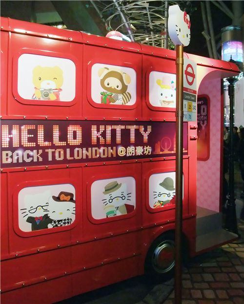 red Hello Kitty double decker bus
