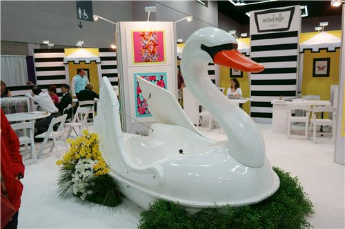 this big swan paddleboat was the eye-catcher at the Michael Miller fabric