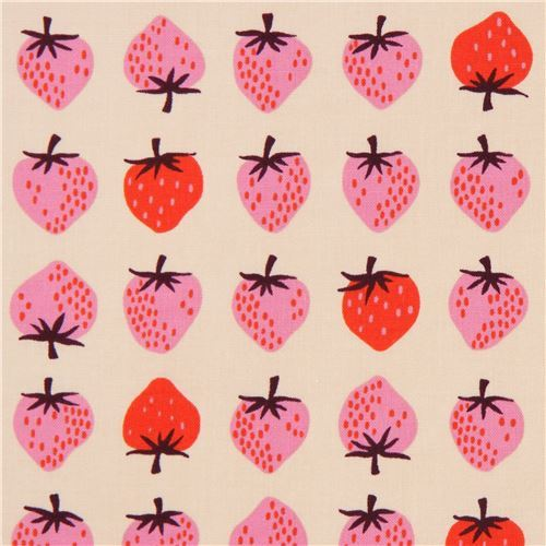 beige fabric with strawberry fruit fabric by Cotton and Steel