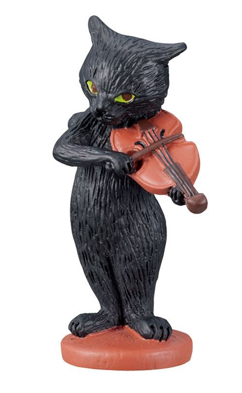 black cat with violin music instrument figurine from Japan
