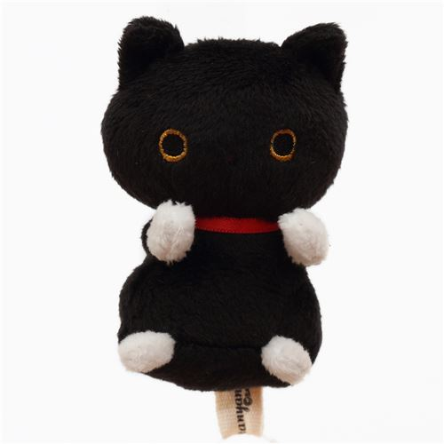 cute small black cat animal red collar plush toy