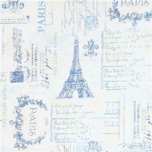 cream light cream Robert Kaufman blue Paris word key fabric City of Lights