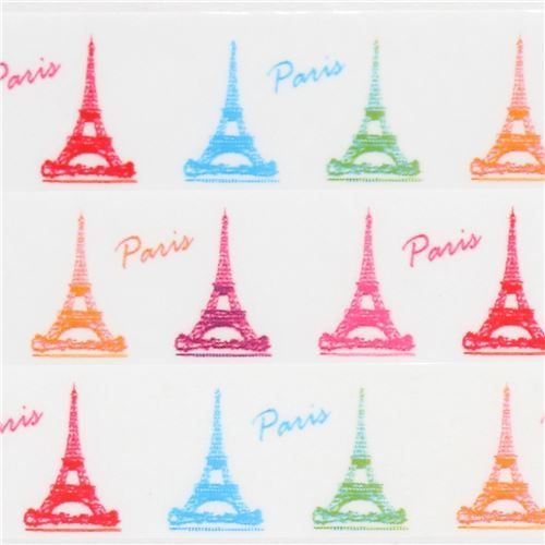 cute white with colorful Eiffel Tower deco tape sticky tape