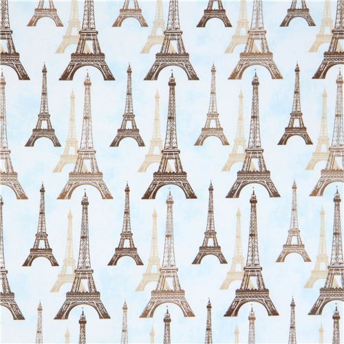 light blue Robert Kaufman brown beige Eiffel Tower fabric City of Lights