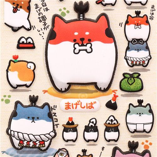 funny Samurai dog 'Mageshiba' sponge stickers from  Japan