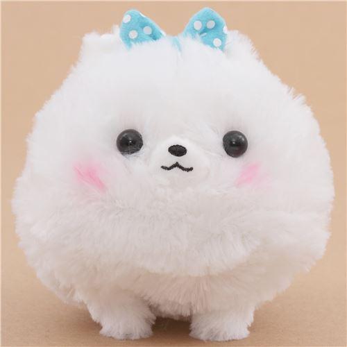 cute fluffy white dog blue bow Pometan plush toy Japan
