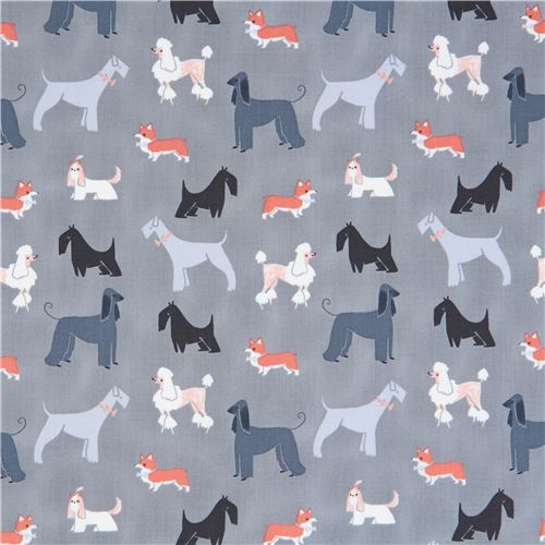 grey fabric cute funny dog animal by Dear Stella USA