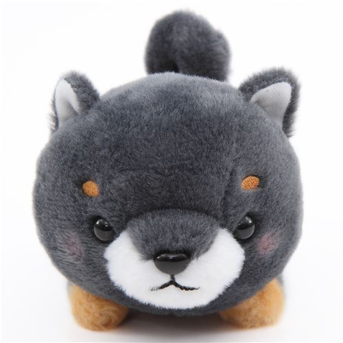 kawaii dark grey dog orange scarf Mameshiba San Kyodai plush toy Japan