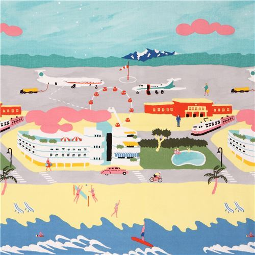 colorful Canvas fabric beach airport Kokka Japan