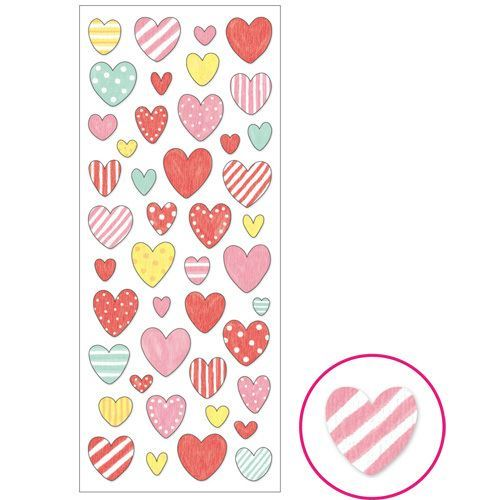 pink yellow heart with dot stripe pattern stickers by Mind Wave