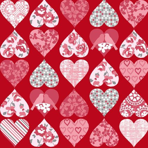 red pink small heart flower dot stripe pattern fabric by StudioE 'Hugs & Kisses'