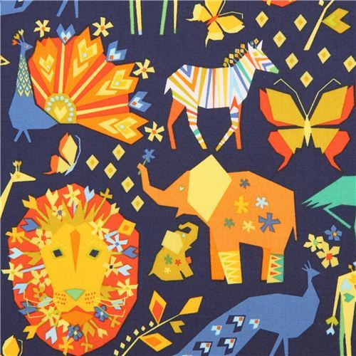 navy blue Pride Origami animal fabric Michael Miller Origami Oasis
