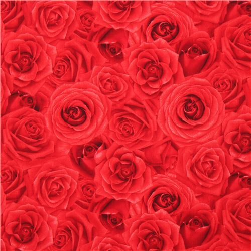 fabric with red rose flower by Timeless Treasures
