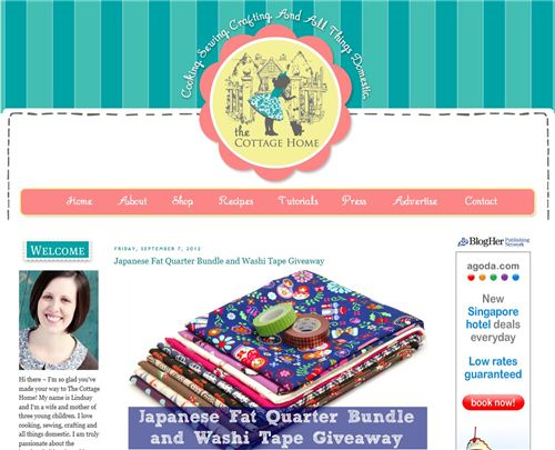 Visit The Cottage Home Blog to enter our Fabric Giveaway