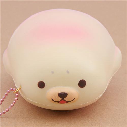 cute cream-pink mochi seal animal scented squishy by Puni Maru