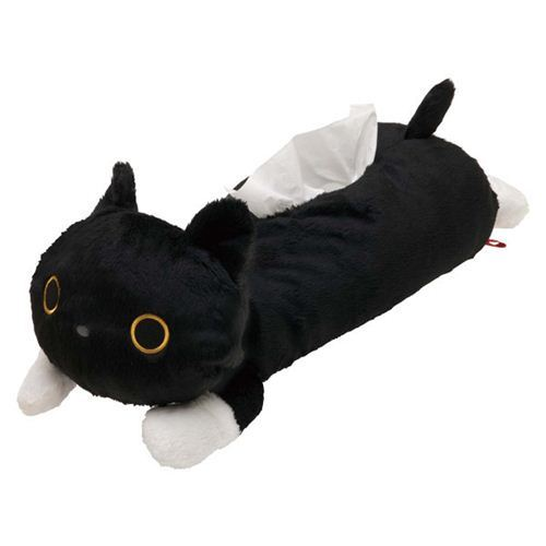 black Kutusita Nyanko cat plush tissue box