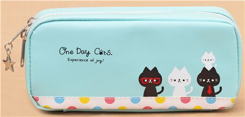 turquoise cat dot animal pencil case from Japan