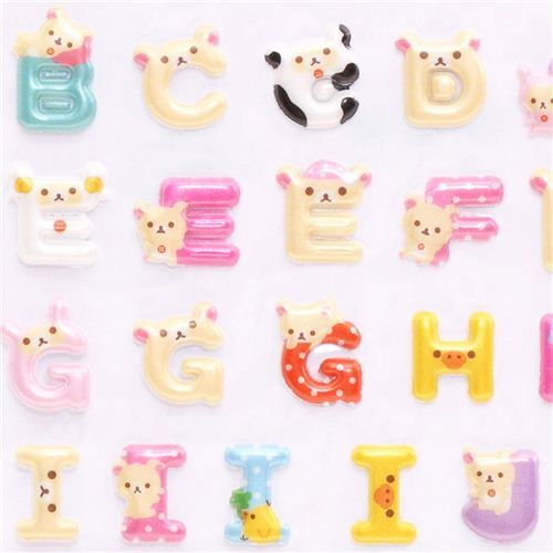 ABC Rilakkuma alphabet 3D stickers white bear and chick