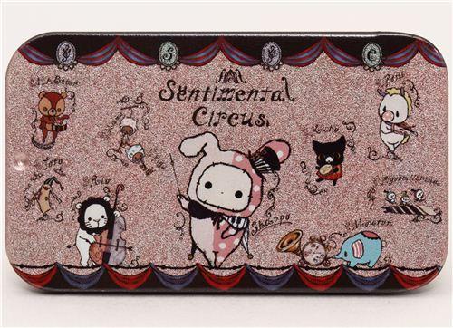 pale pink Sentimental Circus tin case pill box animals music