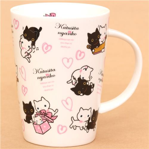 big white Kutusita Nyanko cat with hearts cup San-X