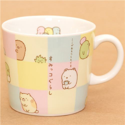 checkered Sumikkogurashi shy animals cup by San-X