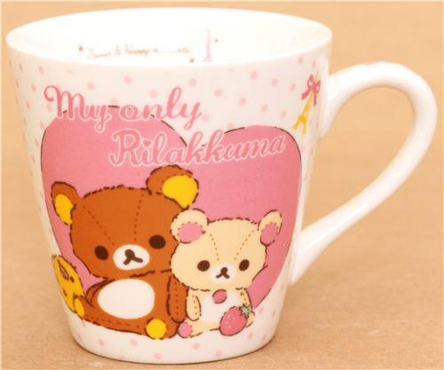 dotted Rilakkuma teddy bear cup with heart San-X