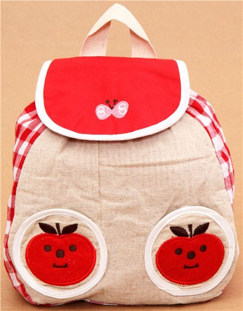 red Decole Vichy square apple childrens backpack