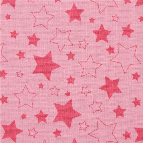 pink Riley Blake star fabric from the USA