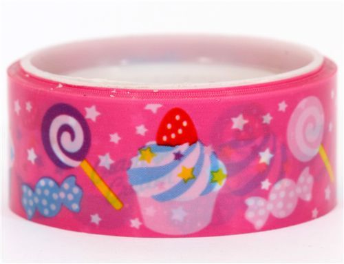 Cram Cream pink cupcake lollipop deco tape kawaii