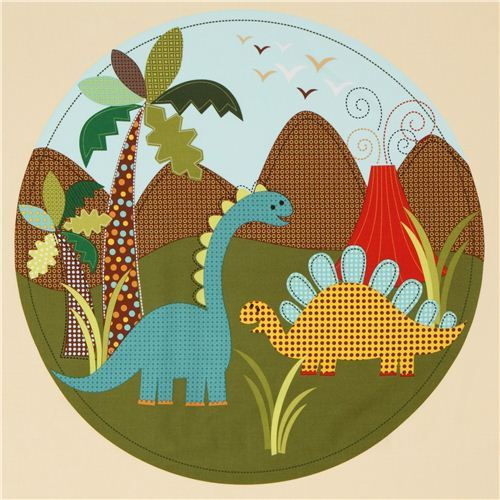 beige dinosaur panel fabric for boys Michael Miller
