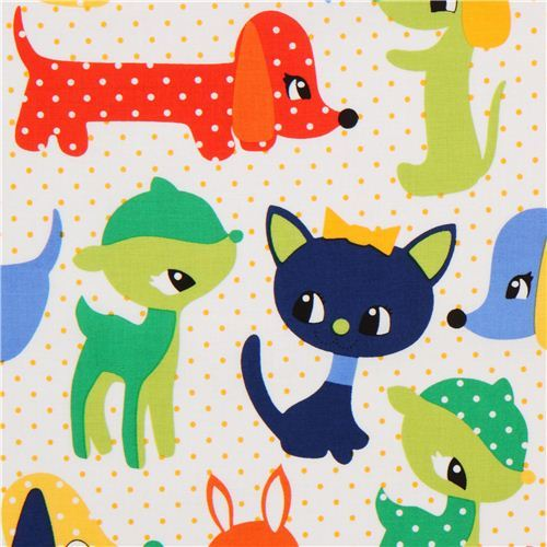 white baby animal fabric Michael Miller green-blue