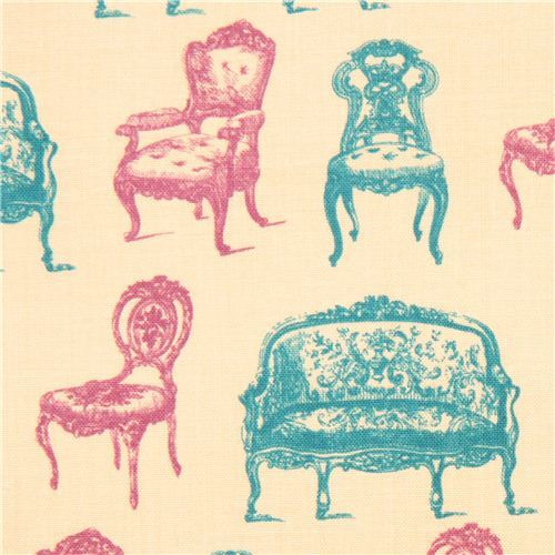 beige retro fabric USA Vintage Victorian Chairs