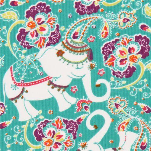 green elephant corduroy fabric Robert Kaufman Cool Cords