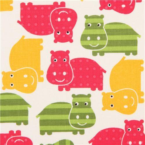 white hippo animal fabric pink-green Robert Kaufman