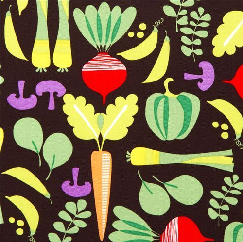 brown Michael Miller fabric with colourful vegetables