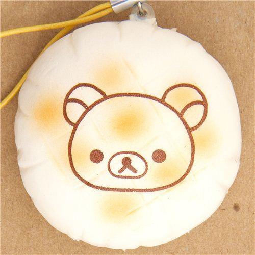 white Rilakkuma bear bread squishy cellphone charm