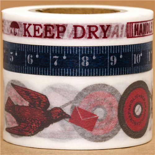 Washi Masking Tape deco tape set 3pcs measure tape