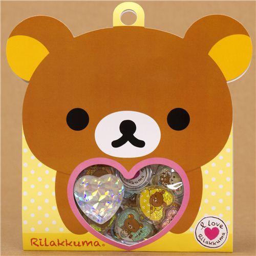 kawaii Rilakkuma bear sticker sack with diamond heart