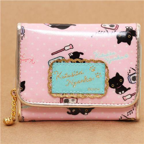 kawaii pale pink Kutusita Nyanko cat wallet with radios