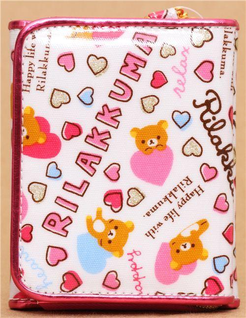 kawaii white San-X wallet Rilakkuma bear heart glitter