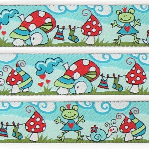 cute turquoise frog world woven ribbon trim fly agaric