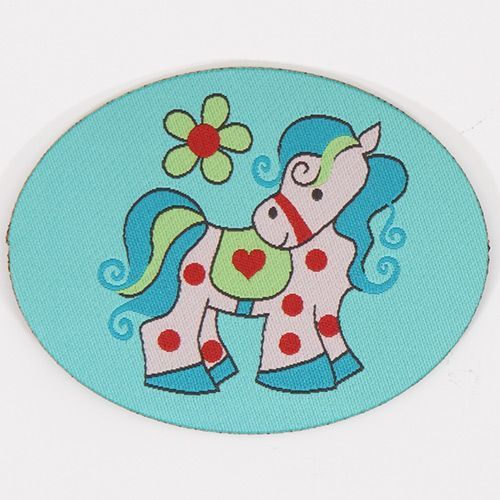 cute turquoise pony woven label with flower