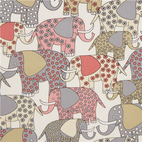 white patterned elephant animal fabric by Timeless Treasures