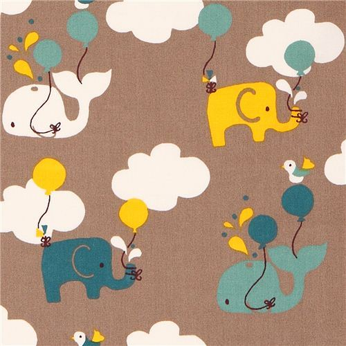 grey elephant birch organic fabric Up Up and Away Frolic