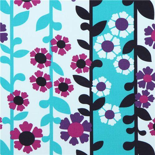 blue-turquoise flower stripe canvas fabric Robert Kaufman USA
