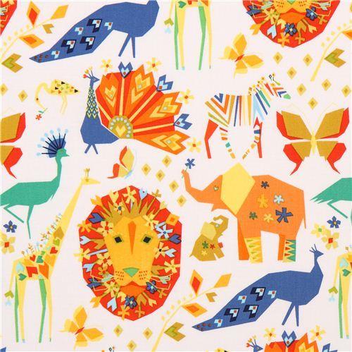 white Pride Primary Origami animal fabric Michael Miller Origami Oasis