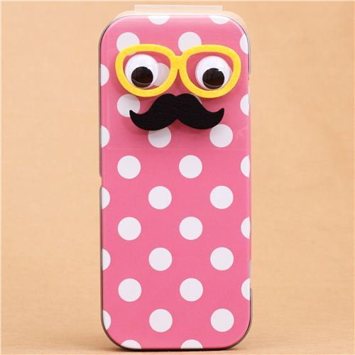 polka dot stripe Mr. Mustache pencil case tin can Q-Lia