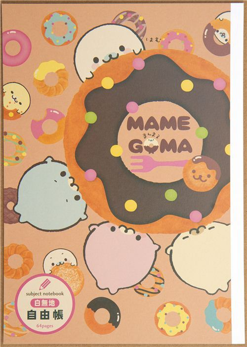 cute Mamegoma seal Notepad drawing book with donuts