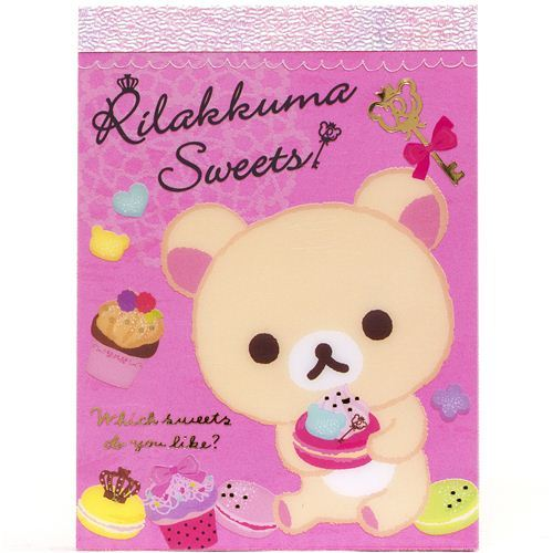 San-X Rilakkuma white bear mini Memo Pad with sweets