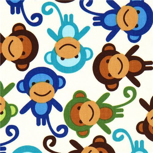 Robert Kaufman premium laminate fabric little monkeys